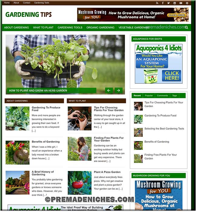 Gardening Tips PLR WordPress Blog