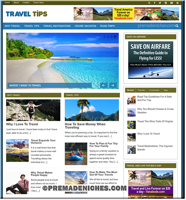 Travel Tips PLR Niche Blog