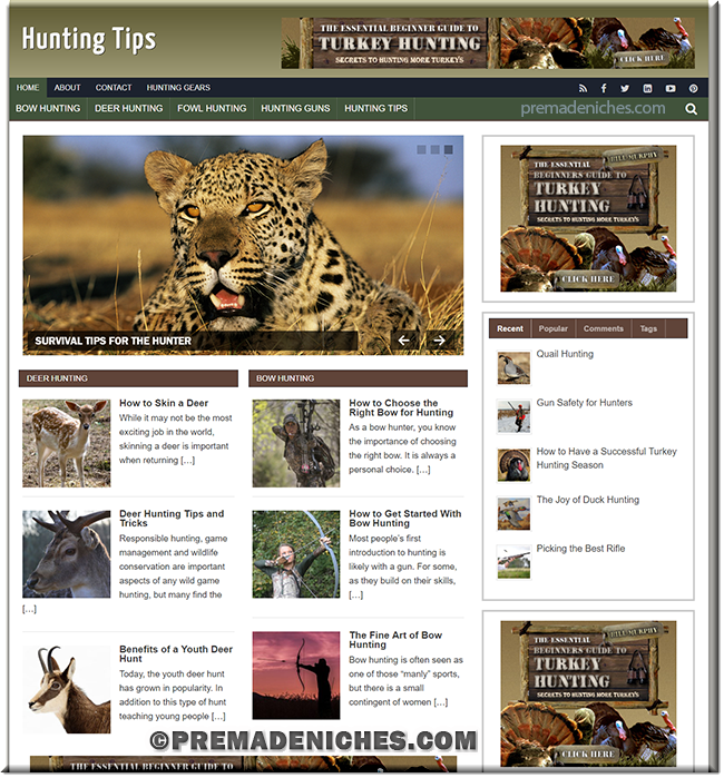 Hunting Tips Turnkey PLR Website