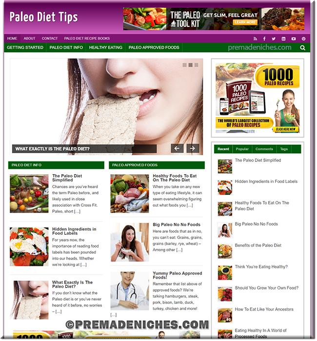 Paleo Diet Tips Turnkey PLR Site