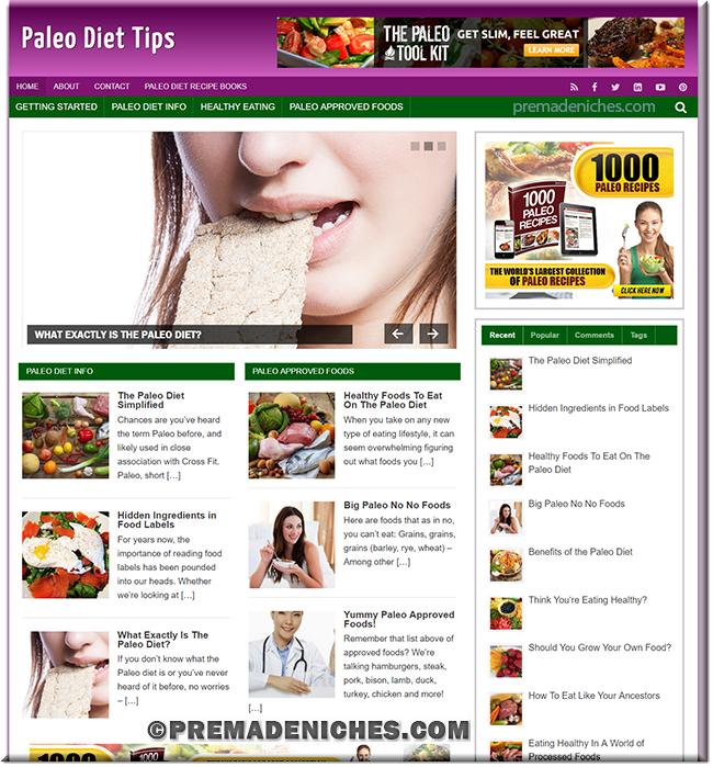 Paleo Diet Tips Turnkey PLR Site