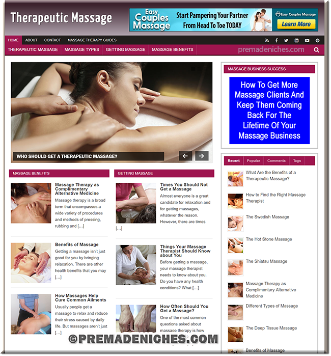 Therapeutic Massage PLR Niche Blog