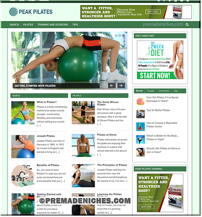 Peak Pilates PLR Niche Blog