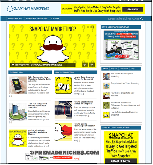 Snapchat Marketing PLR Website