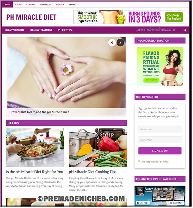 pH Miracle Diet PLR Niche Site