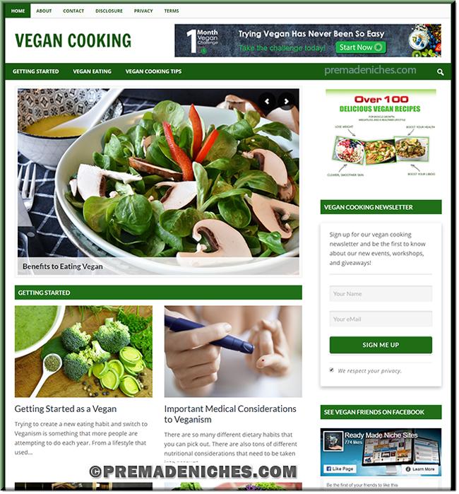 Vegan Cooking PLR Info Website