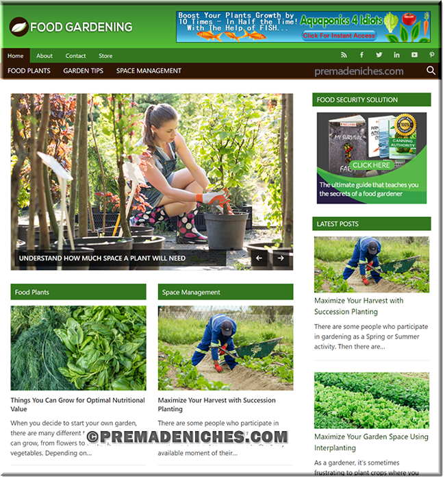 Food Gardening Ready Made Blog with PLR License