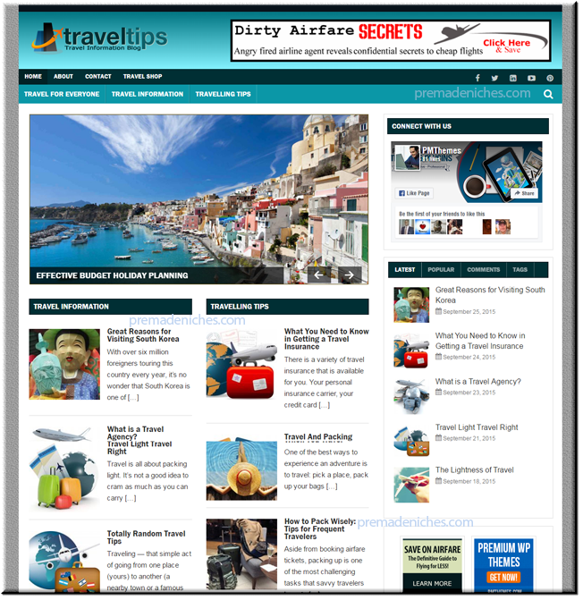 travel ready made niche site