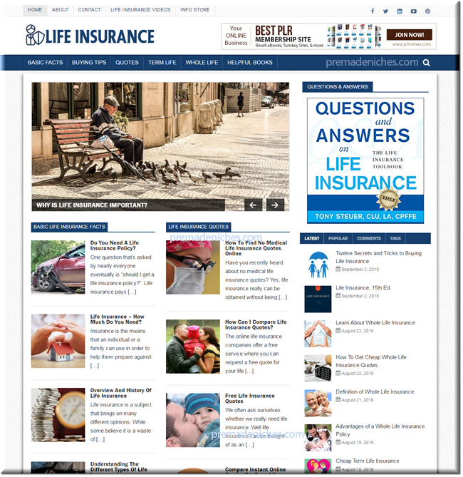 Life Insurance Ready Made Website