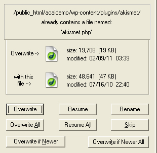 Overwrite existing files on your webhost