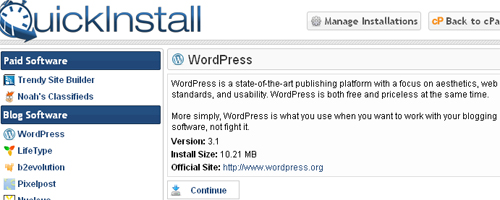 Quick Install WordPress