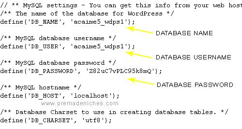 finding wp-config database details