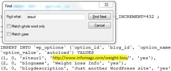 changed site url