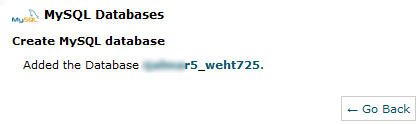 new database name created