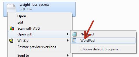 open sql wordpad