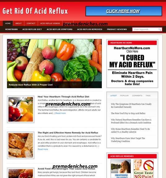 acid reflux turnkey site