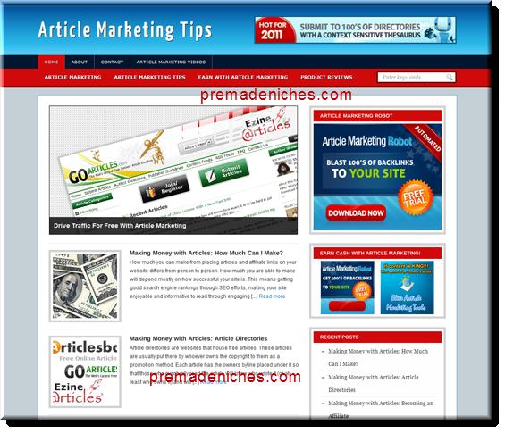 article marketing ready made blog