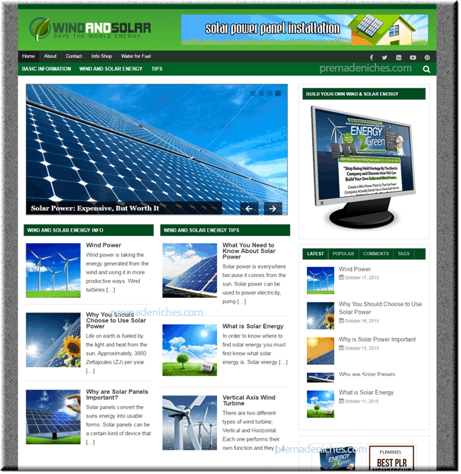 wind and solar niche site